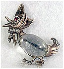 Norma sterling jelly belly grandma duck wearing hat pin