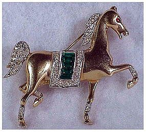 Trifari Alfred Philippe pave trotting horse