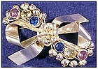 Hobe sterling bow pin  colored stones -3 1/4