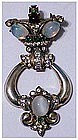 Corocraft sterling jelly belly door knocker pin brooch