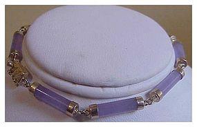 14K yg lavender tubular jade bracelet  (9 segments)