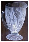 "Iris, Iris & Herringbone 9 1/2"" pitcher clear footed"