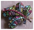 Hollycraft  multi color  rhinestone pin