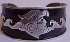 Mexican sterling Aztec warrior bracelet -Taxco