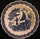 Caughley Soft Paste Porcelain Plate, Fisherman Pattern
