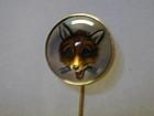 Stickpin of an Essex crystal fox set in 12K gold