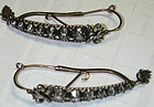 Earrings of diamonds set in 15K gold & silver, French