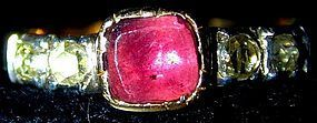 15K gold Georgian ring almondine garnet, rose diamonds