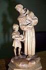 Wood sculpture of Saint Francis of Assisi and the doves