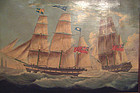 Ship's Portrait with Red Ensign - the 'Eagle Hull'