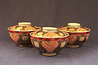 Three Marked Japanese Imari Porcelain Covered Bowls