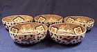 Set of Five Japanese Imari Porcelain Bowls Ca 1900