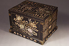 Korean Mother of Pearl on Black Lacquer Mirror Chest