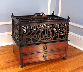 A Fine 19th C. Classical Two Drawer Rosewood Canterbury