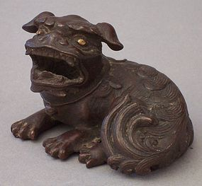 Small Japanese Bronze Sculpture of Shishi, old patina