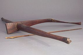 Montagnard Hardwood and Ox Bone Crossbow, Bamboo Arrow