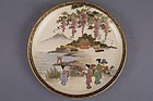 Small Satsuma dish, figures in Mt Fuji lake landscape