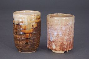 Two, Signed Japanese Glazed Pottery Yunomi (Tea Cups)