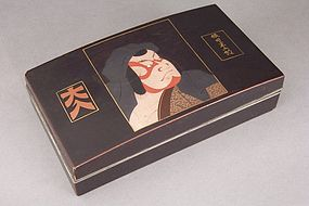 Lacquer Named Kabuki Actor Portrait Box, Daihachi Role