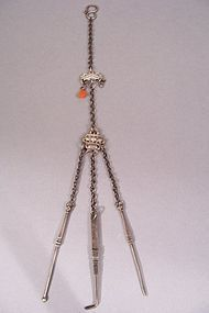 19th Century Chinese Silver Chatelaine With Opium Tools
