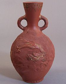Tokoname Redware Vase. Dragon in Clouds Decoration.