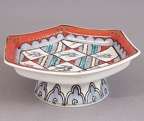 Hexagonal Footed Dish, Chidori. Manner of Hajime Kato