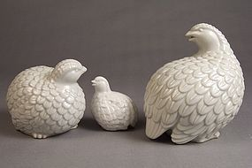 Japanese studio porcelain Quail family, 2 pieces plus 1