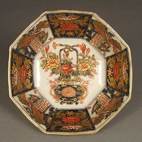 Genroku Era Octagonal Imari Bowl. Flowers, Boats Decor