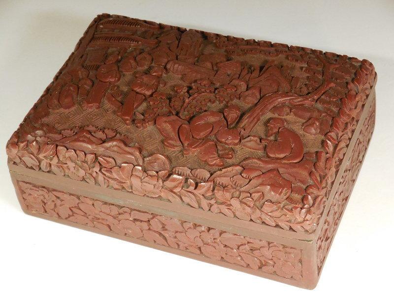 Chinese Carved Dark Red Cinnabar Box WIth Figures In Garden Landscape
