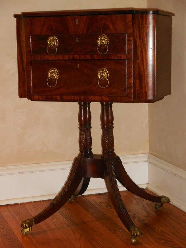 Fine Late Federal Classical Mahogany Pedestal Work Table, Circa 1820