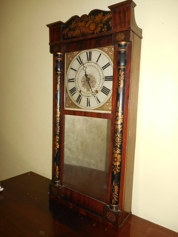 American Shelf Clock with Wood Works by Jerome