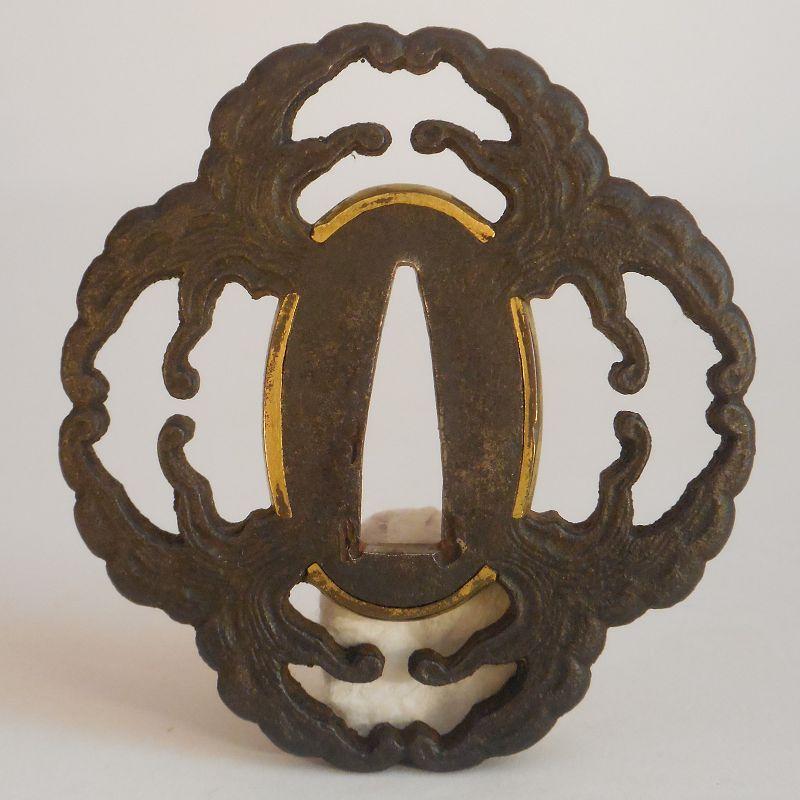 Edo Period Iron Tsuba, Stylized Wave Motif, Possibly Depicting a Mon