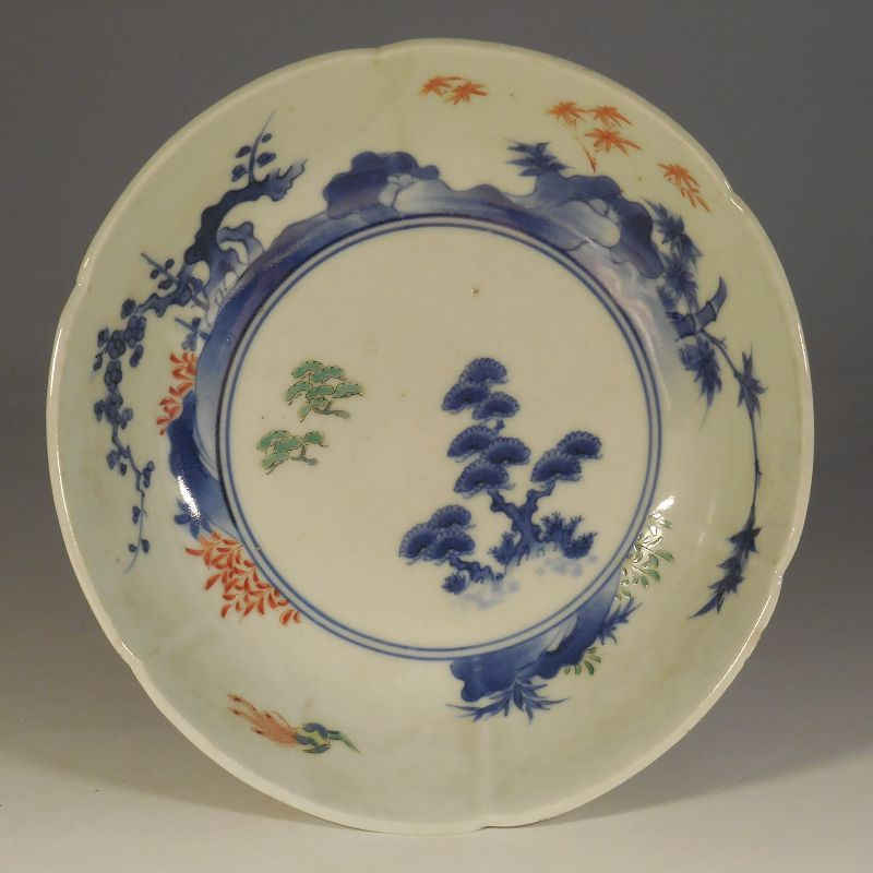Kakiemon Style Porcelain Dish, Friends of Winter Decoration, Marked