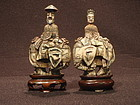 Pair Japanese Bone Figural Snuff Bottles