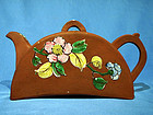 Tile or Half Moon Shaped Enamel Decorated Yixing Teapot