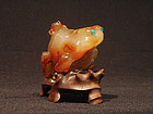 Chinese Carved Agate Frog Group