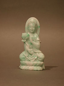 Small Jadeite Green and White Guanyin Carving
