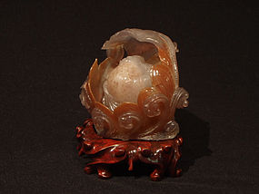 Chinese Carved Water Agate Happy Buddha