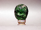 Peking Glass Egg Green Over Clear with Immortals