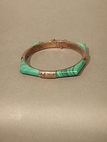 Malachite four section hinged Bracelet