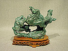 Animated Horse Group Aventurine Carving