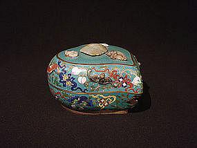 Chinese Cloisonne Peach Form Box Jade Bats