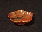 Graceful Chinese Lotus Flower Carved Agate Bowl
