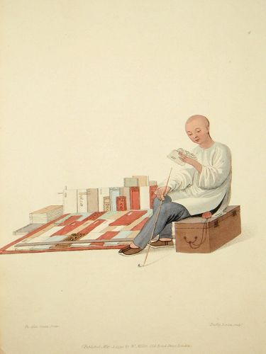 Costume of China Print of a Bookseller 1800