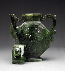 Spinach Jade Octagonal Teapot Early 20th Century