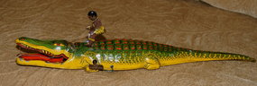 1930s Tin J CHEIN Wind-up Toy ALLIGATOR BLACK NATIVE
