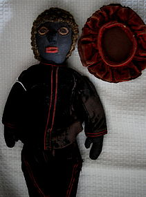 C1900 Black Folk Art Cloth Doll in Shakespeare Costume