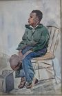 1934 Rosenson Original Watercolor Black Shoe Shine Boy
