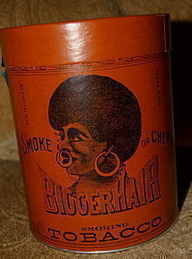 RARE 1926 Black Americana Negro BIGGER Hair Tobacco Tin
