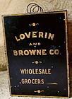 C1880 Tin Salesman Sample Case Loverin + Browne Grocers